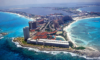 Unsustainable development in Cancun, Mexico.