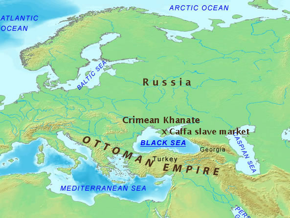 Map identifying the Caffa slave market's relationship to the Ottomon Empire, Crimean Khanate, and Russia.